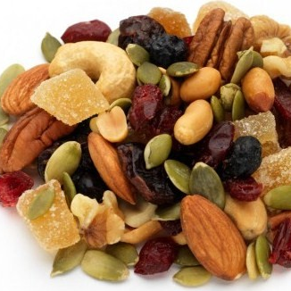 Healthy trail mix for kids with nuts, seeds, and d