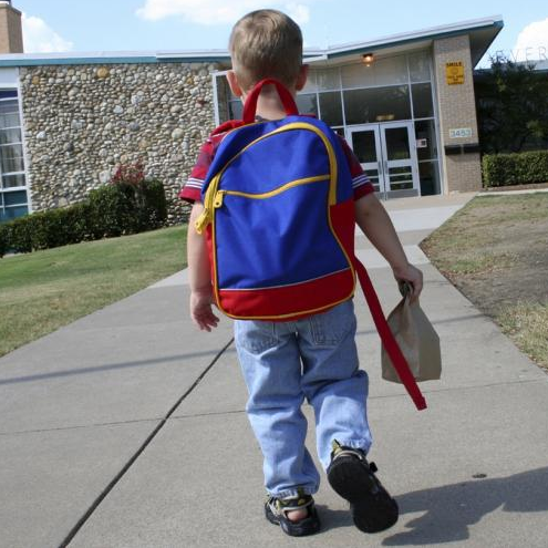Child with Asthma Walking into School